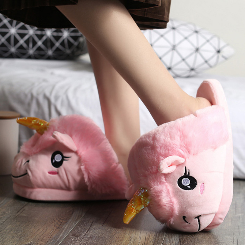 Shoes woman indoor slippers superstar unicorn cloth down womens solid pink fur flat with ladies shoes plush lovely sapatilha embroider flock indoor slippers winter home furry fuzzy womens house with fur mules women bow plush flat shoes feathers s170