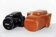 Free Shipping High Quality PU Leather Camera Case Bag Cover for Nikon Coolpix P900s P900 digital camera Brown