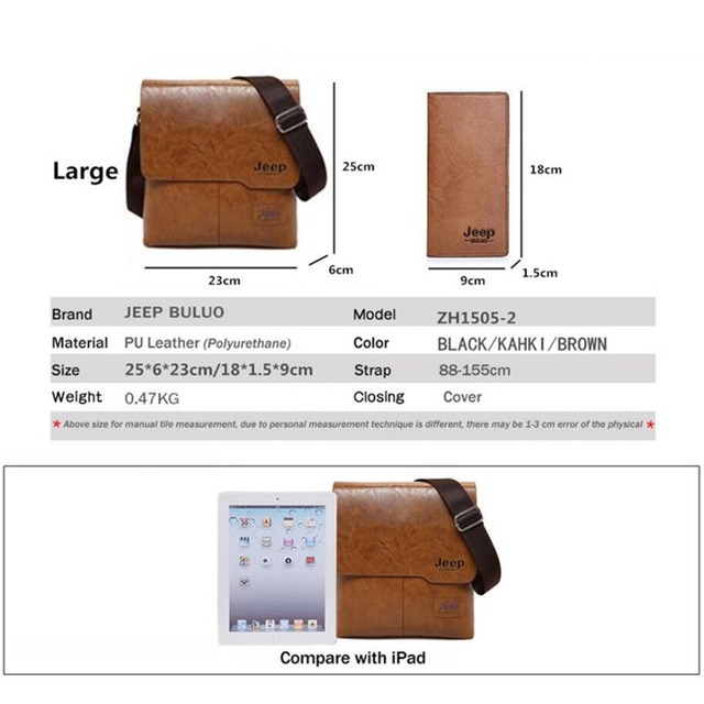 JEEP BULUO Man Messenger Bag 2 Set Men Pu Leather Shoulder Bags Business Crossbody Casual Bag Famous Brand ZH1505/8068 1