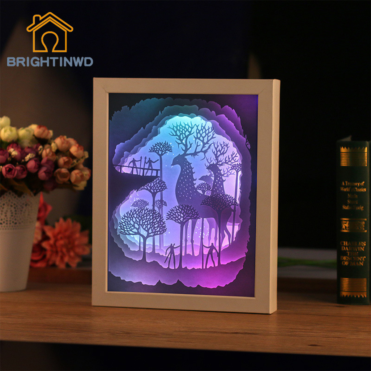 BRIGHTINWD 3D Light Shadow Paper Carving Paper Lamp Night Light Hollow Deer LED Energy-Saving Lamp