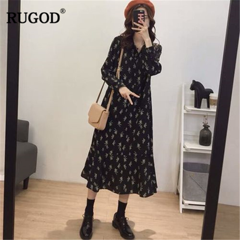 RUGOD New Vintage Floral Print Dress Women Spring Clothes Casual All match Long Sleeve Midi Dress