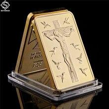 Золотая монета со слитком Бога, 1 унция, Реплика Золота, 999, золотой плакированный слиток, бар, христианская памятная монета