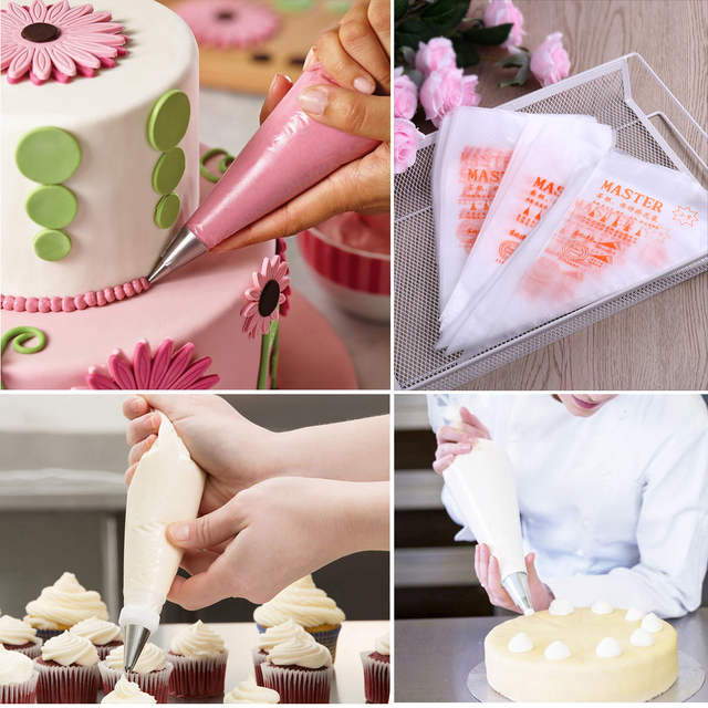 100pcs Disposable 13 Inch Cake Decorating Bags Cake Cream Icing Diy Decoration Pastry Bags Kitchen