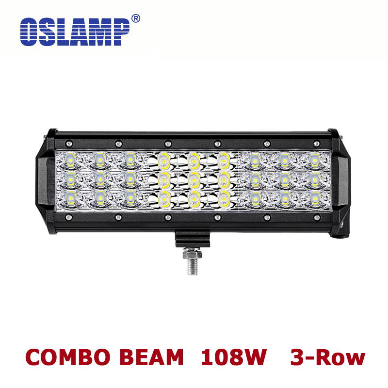 Oslamp 108W 9 Spot + Flood Combo Beam LED Work Light Bar 12V 24V 6000K Auto Driving Lamp for Car SUV ATV RZR UTV Camper Led Bar тв тумба столлайн стл 272 03