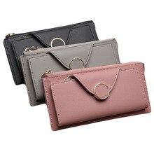 6PCS / LOT Women Long Wallet Leather Card Holder Coin Money Bag Phone Pocket Ladies Clutch Zipper Wallet Dollar Price Purse