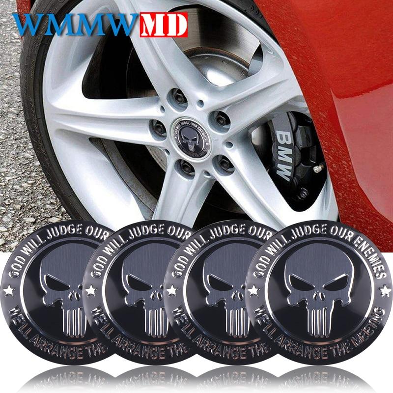 4pcs 56mm 3D THE Punisher Car Steering Tire Wheel Center Badge Sticker Hub Cap Emblem Decals Symbol Car Styling Decoration