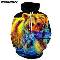 TINGHON Mannen Vrouwen 3D Sweatshirts Gele Beer Gedrukt Hoodies Novelty Trui Casual Trainingspakken Harajuku Uitloper S-6XL