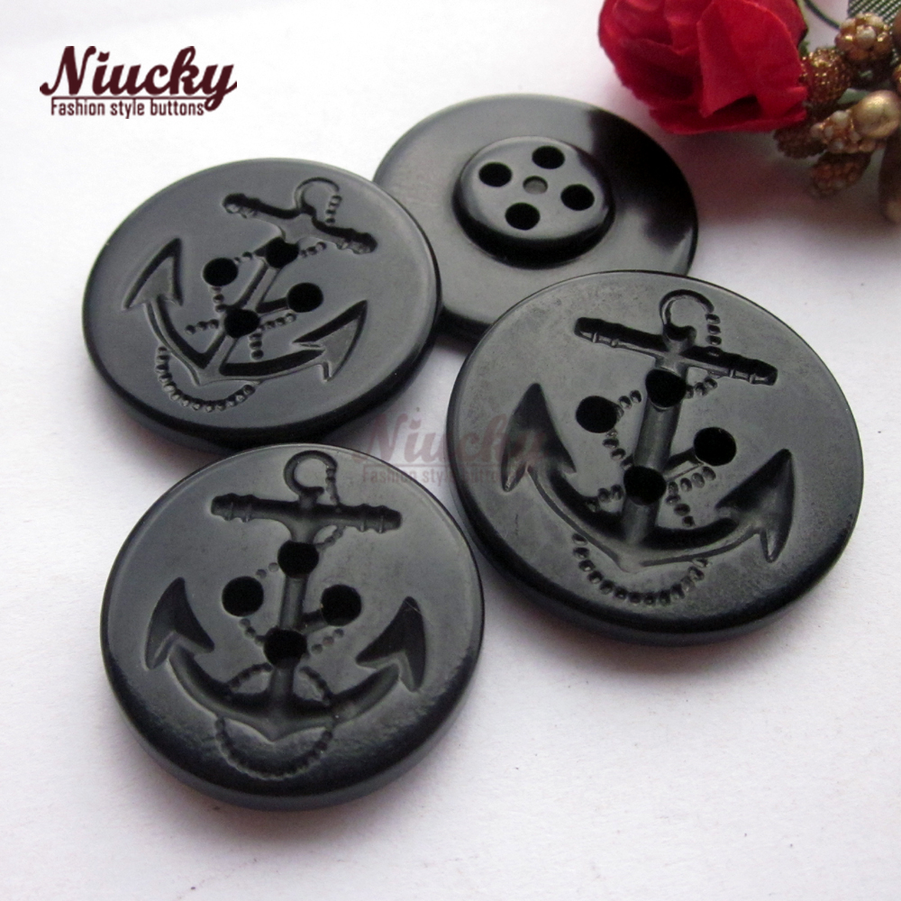Niucky buttons 15mm 22mm 4 holes Black anchor urea buttons for Navy uniform Navy style clothing sewing buttons Ru0201 003 15 in Buttons from Home Garden