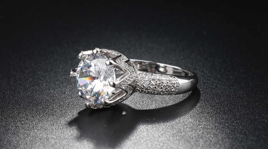 8ct หรูหรา Solitaire 925 เงิน 11 มม.CZ หินจำลองงานแต่งงานมงกุฎผู้หญิง Shine แหวนคริสตัล Ball Party แหวน 6-10