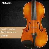 ZONAEL Solo Violin 4 4 Spruce Wood Matte Finish Solid Wood Violin Craft Stripe Violino Professional