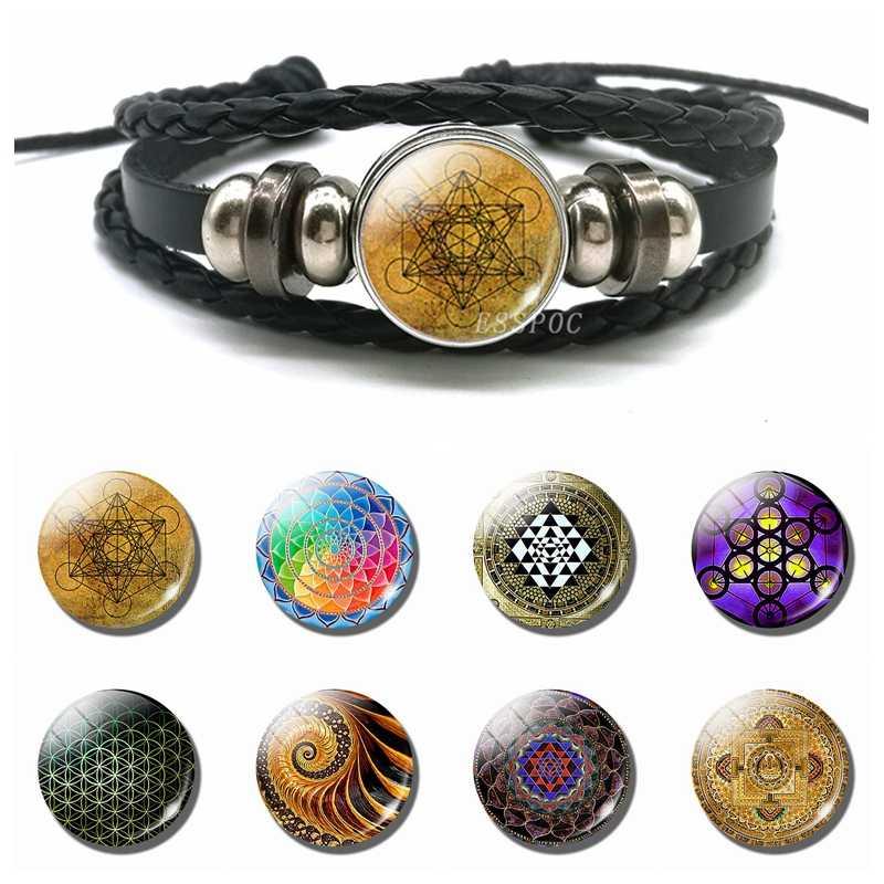Sri Yantra szkło Cabochon przystawki przycisk bransoletka świętej geometrii duchowa joga biżuteria buddyjskiej mandali czarna skórzana bransoletka