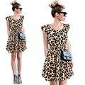 Новые Сексуальные женские Рукавов Aline Leopard Dress Casual Партия Evenning Мини Dress Повседневная/Партия Одежды