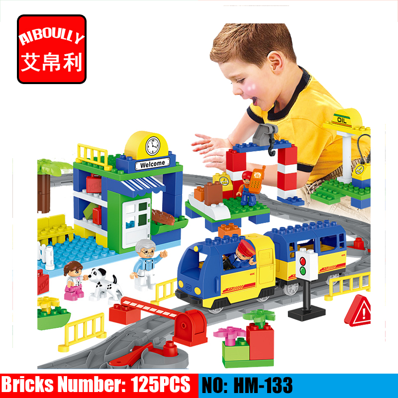 NEW AIBOULLY HM315 high-speed rail train train station children assembled toy building blocks Compatible With duploe ...