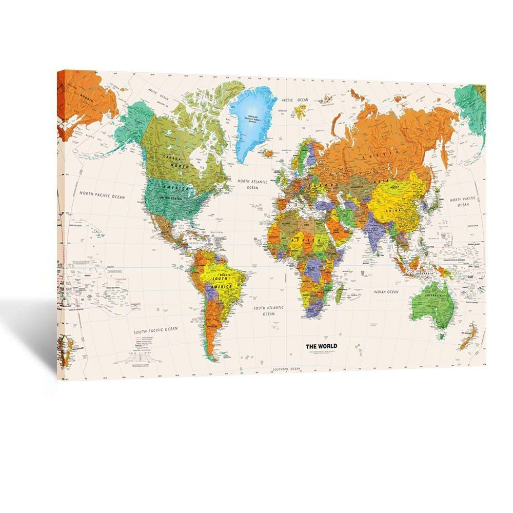 Large Size World Map Wall Art Framed Art Print Picture Wall Decor Home Interior - Map Picture for  Wall Decor Drop shipping interior design