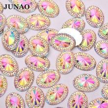 JUNAO 13x18mm 20x30mm AB kristal reçine Rhinestones aplike Oval Strass Flatback karalama defteri boncuk tutkal taşlar için mücevher