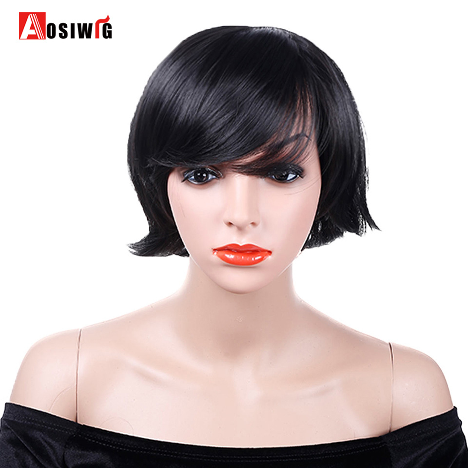 AOSIWIG 9 Colors Short Straight Wig Costumes Party Heat Resistant Natural Synthetic Hair Cosplay Wigs ...
