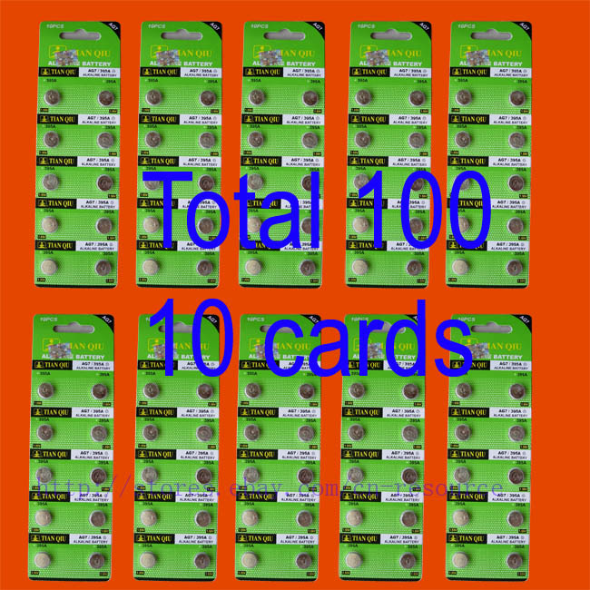 100 X AG7 LR927 395 alkaline button cell battery N