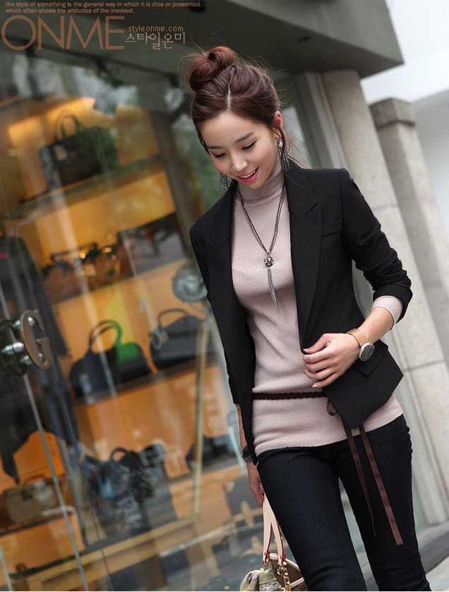 4a96964590a1b 2017 Spring Autumn Women Slim Black Office Suit Jacket Ladies One Button  Formal Business Blazer Casual Jackets Size S 3XL-in Blazers from Women s  Clothing ...