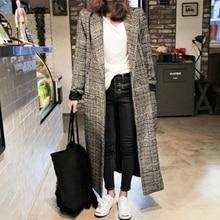 Women Long Plaid Woollen Coat Wool Blends Overcoat Turndown Large Size Loose Outwear Female Autumn Winter Trench Coats New 2018