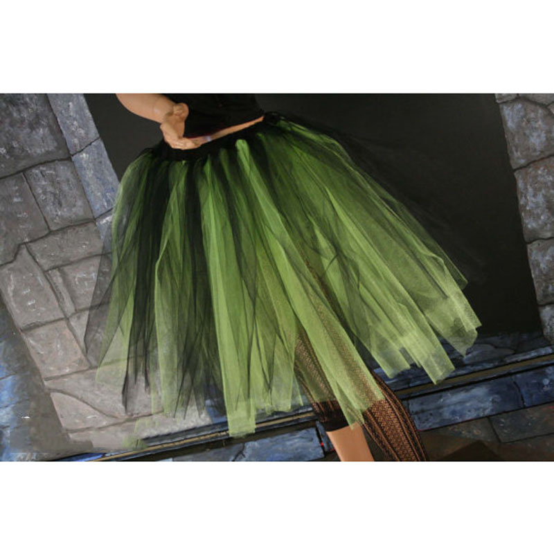 Streamer Knee Length Tutu Skirt Black and Neon Gothic Adult Skirts Eye Catching Unique Lolita Tulle Skirt Custom Made Size Free