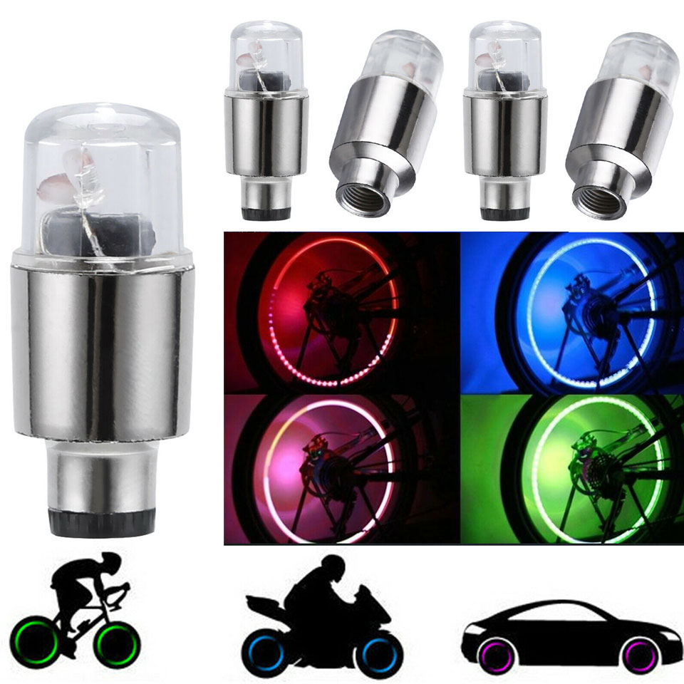 2Pcs/Lots LED Car Bike Wheel Tire Tyre Valve Dust Cap Spoke Flash Lights Car Valve Stems & Caps Green/Blue/Red/RGB Colorful