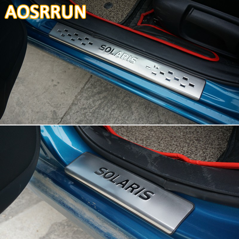 aosrrun free shipping stainless steel door sill scuff plate car accessories for hyundai solaris. Black Bedroom Furniture Sets. Home Design Ideas
