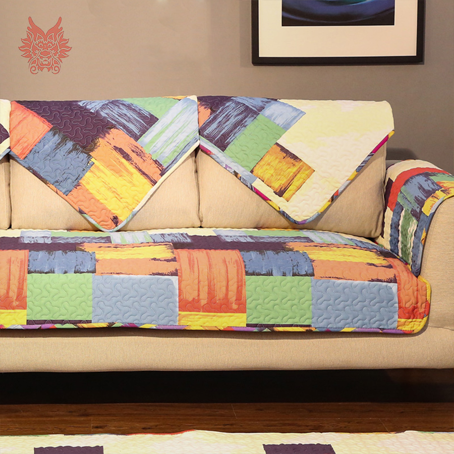 American style multi graffiti geometric printed 100% cotton quilted sofa cover canape quilting slipcovers home decor SP3599