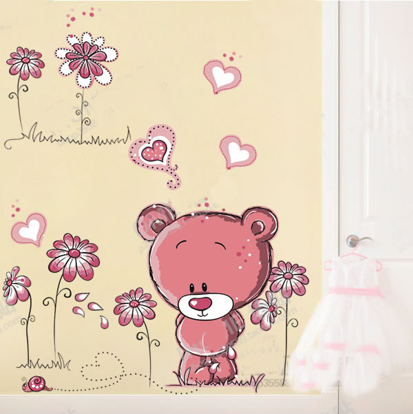 New Design Romantic Cartoon Cute Bear Love Home Decoration Wall Stickers Living Room Child Room Wall Decals Bedroom Wallpaper