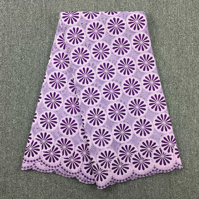 High Quality African Swiss Cotton Voile Lace Lilac + Purple, 069 Free Shipping 5yards/Lot, 100% Cotton Lace Wedding