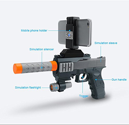 BLUELOONG AR Game Gun with Cell Phone Stand Holder AR Toy Game Gun with 3D AR Games for iPhone Android Smart Phone Fidget Toys