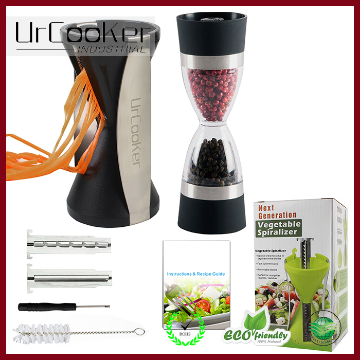 Superior quality vegetable spiral slicer top selling slicer & 2 in 1 Pepper Mill