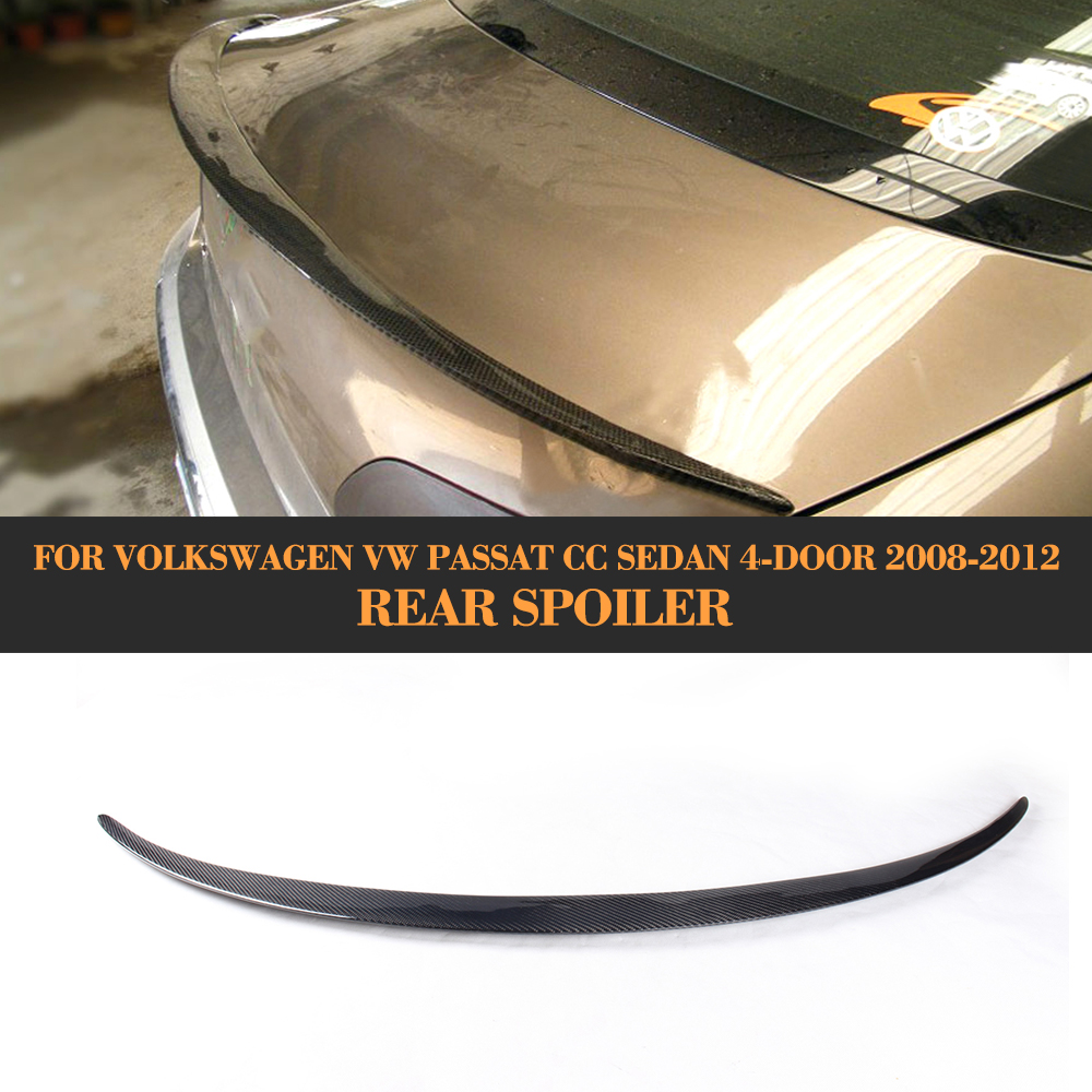 Carbon Fiber Car Rear Trunk Spoiler Boot Lip Wing for Volkswagen VW Passat CC Sedan 4 Door 2008 - 2012 V style Grey PU