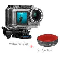 40 متر مقاوم للماء الغوص الغطاء الواقي شل الإسكان الأحمر/الأرجواني الغوص تصفية ل dji oomo عمل كاميرا رياضية