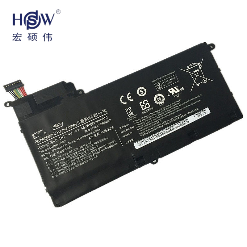HSW New 7.4V 45Wh 6120mah AA-PBYN8AB tablet battery for Samsung NP530U4B-A01US 530U4C 535U4C BA43-00339A laptop bateria new laptop battery for samsung 900x4d np900x4c np900x4b np900x4c a01 aa pbxn8ar