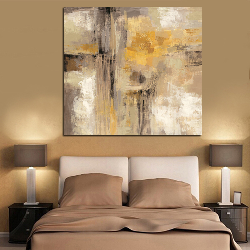 HD Print Yellow Gray Abstract Oil painting on Canvas Scandinavian Art Poster Wall Picture for Living Room Sofa Home Decoration image