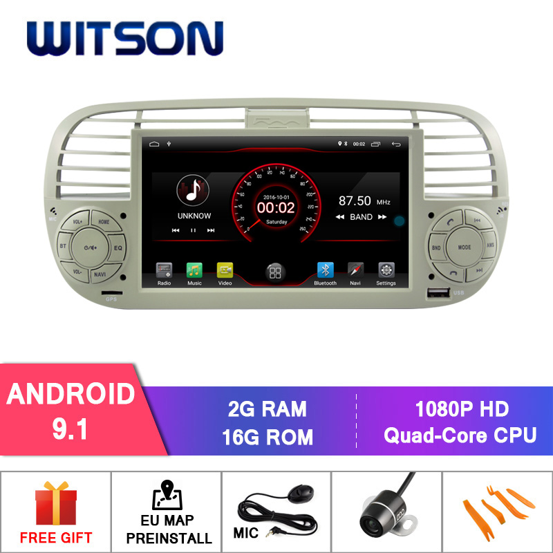 WITSON Android 9.1 CAR RADIO for FIAT 500 2GB RAM 16GB FLASH GPS AUTO STEREO NAVIGATION+DAB+OBD+TPMS+DVR+WIFI(China)