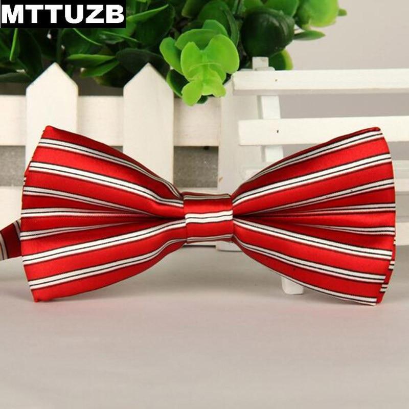 Shop2385108 Store Men MTTUZB strip printed bow tie men's business formal dress cravat man casual neckties male wedding party accessory ties 2pcs