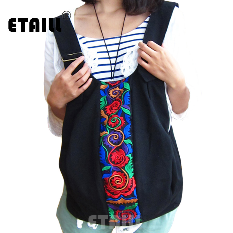 ETAILL Chinese Design Ethnic Embroidered Women Backpack Boho Indian Vintage Embroidery Canvas Travel Back Bag Rucksack Mochila ethnic style v neck embroidered button design women s dress