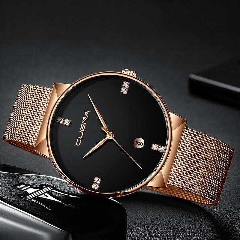 Men's Wrist Watch Luxury Steel Strap Casual Quartz Ultra Thin Watches Men Male Watch Metal Relogios Masculinos