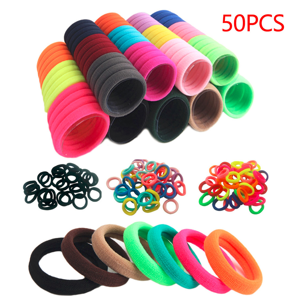 50pcs/lot Elastic Hairband Headwear Rubber Bands Ponytail Holders Tie Gum Black Colorful Hair Accessories For Girls