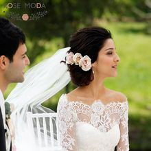 Rose Moda Long Lace Sleeves Princess Full Wedding Dress