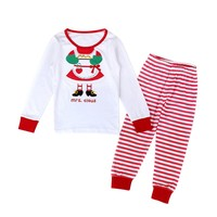 2pcs Baby Kids Christmas Sets Cute Boys Girls Long Sleeve T-shirt + Striped Pants Kids Girl Christmas Suit