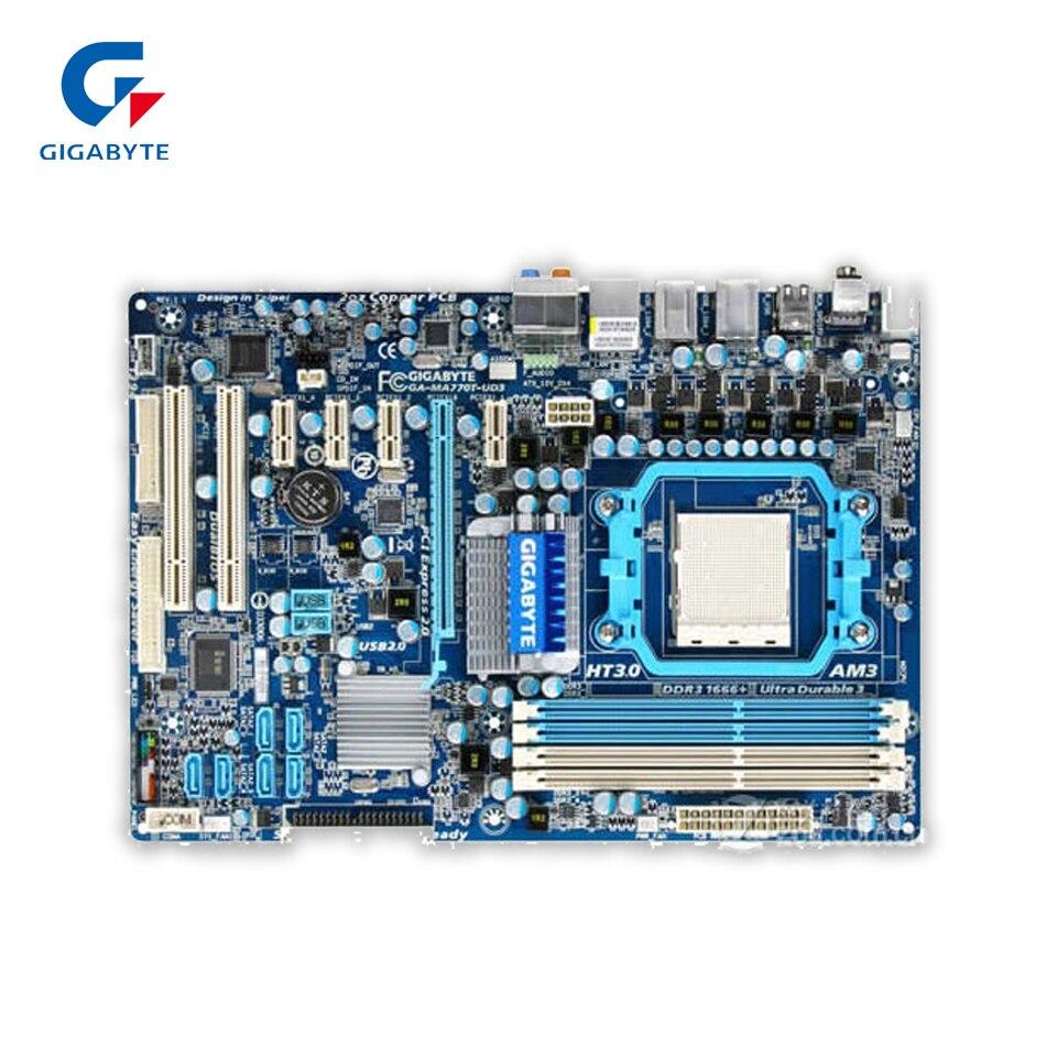 Gigabyte GA-MA770T-UD3 Desktop Motherboard 770 Socket AM3 DDR3 SATA2 USB2.0 ATX gigabyte ga ma770t us3 desktop motherboard 770 socket am3 ddr3 sata2 usb2 0 atx