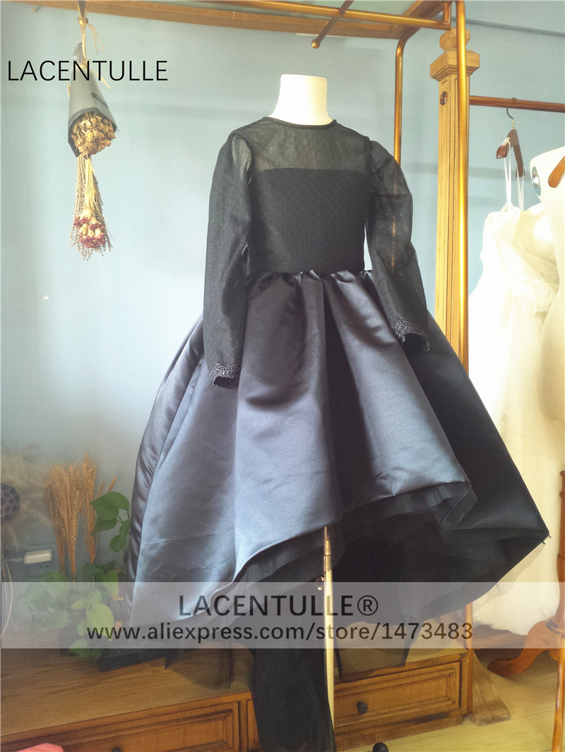 3/4 Sleeves Black   Flower     Girl     Dress   High Low   Girl   Pagent Formal   Dress