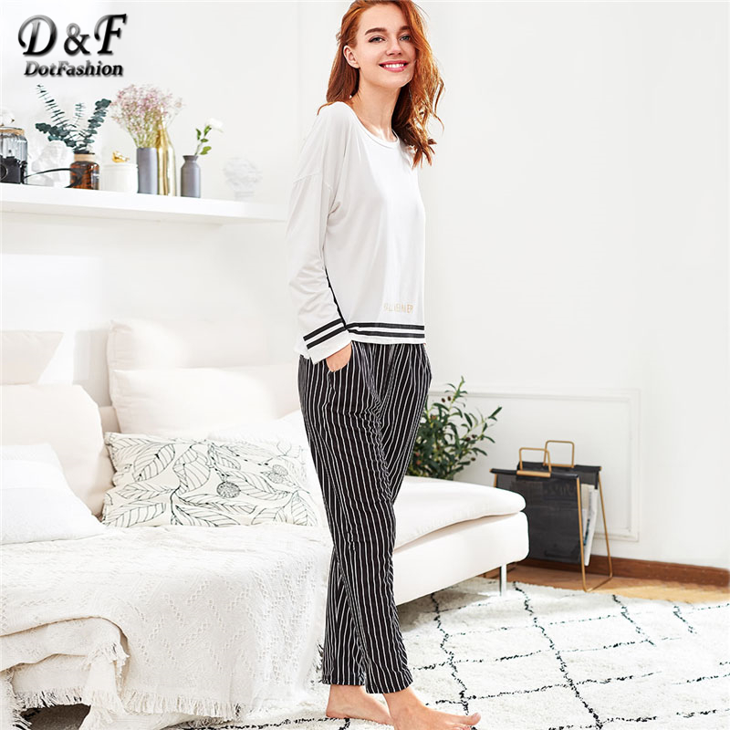 Dotfashion Slit Detail Striped Long Casual   Pajama     Set   2019 Round Neck Long Sleeve Woman Suits Black And White   Pajama     Set