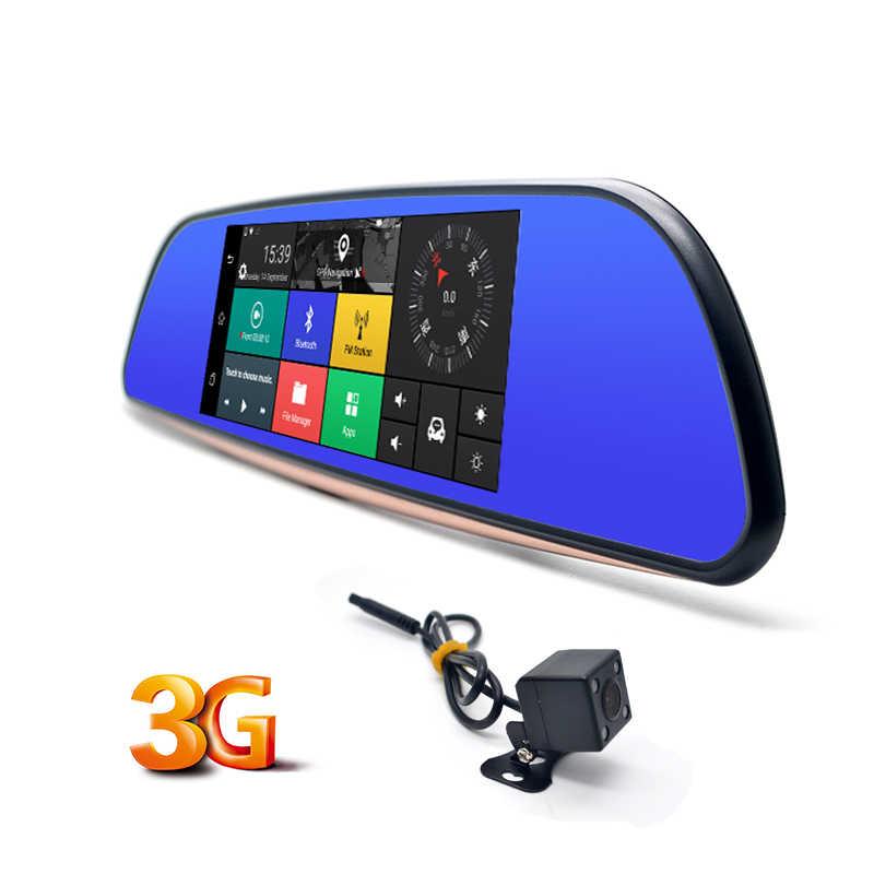 Chezhilin 7 дюймов Автомобильная камера 3g планшет WCDMA Android 5,0 DVR Bluetooth FM wifi двойной объектив зеркало заднего вида видеокамера видеорегистратор DVRs