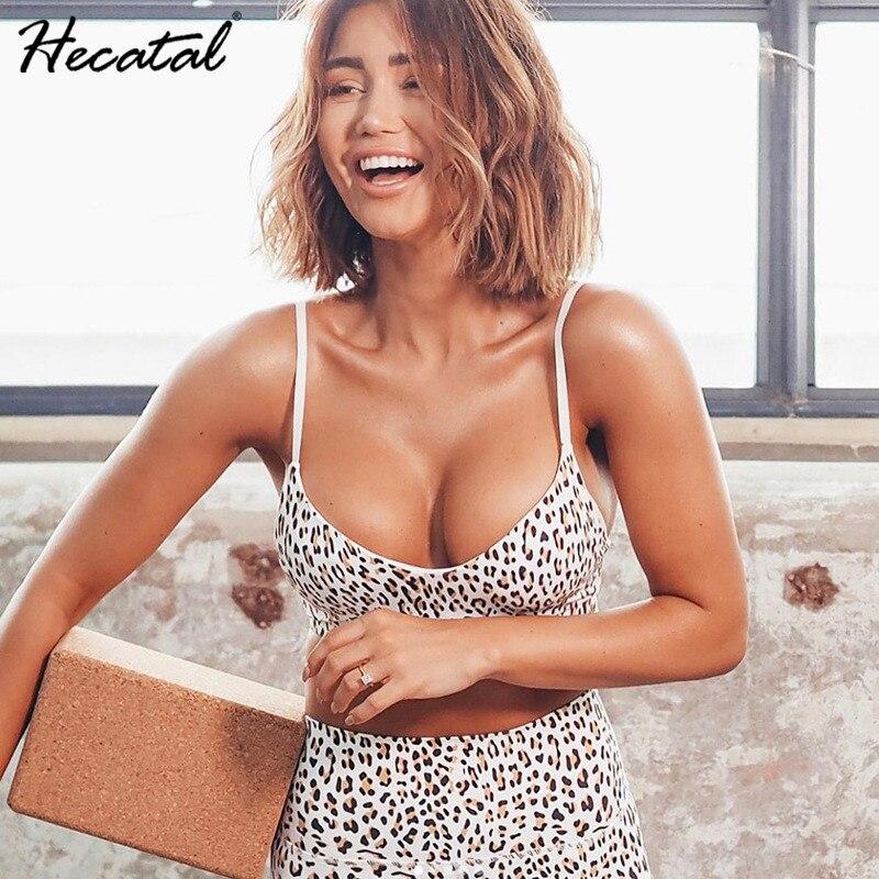 Hecatal модный сексуальный леопардовый топ с высокой талией, обтягивающие женские комплекты для йоги, однотонный комплект для спортзала, жилет...