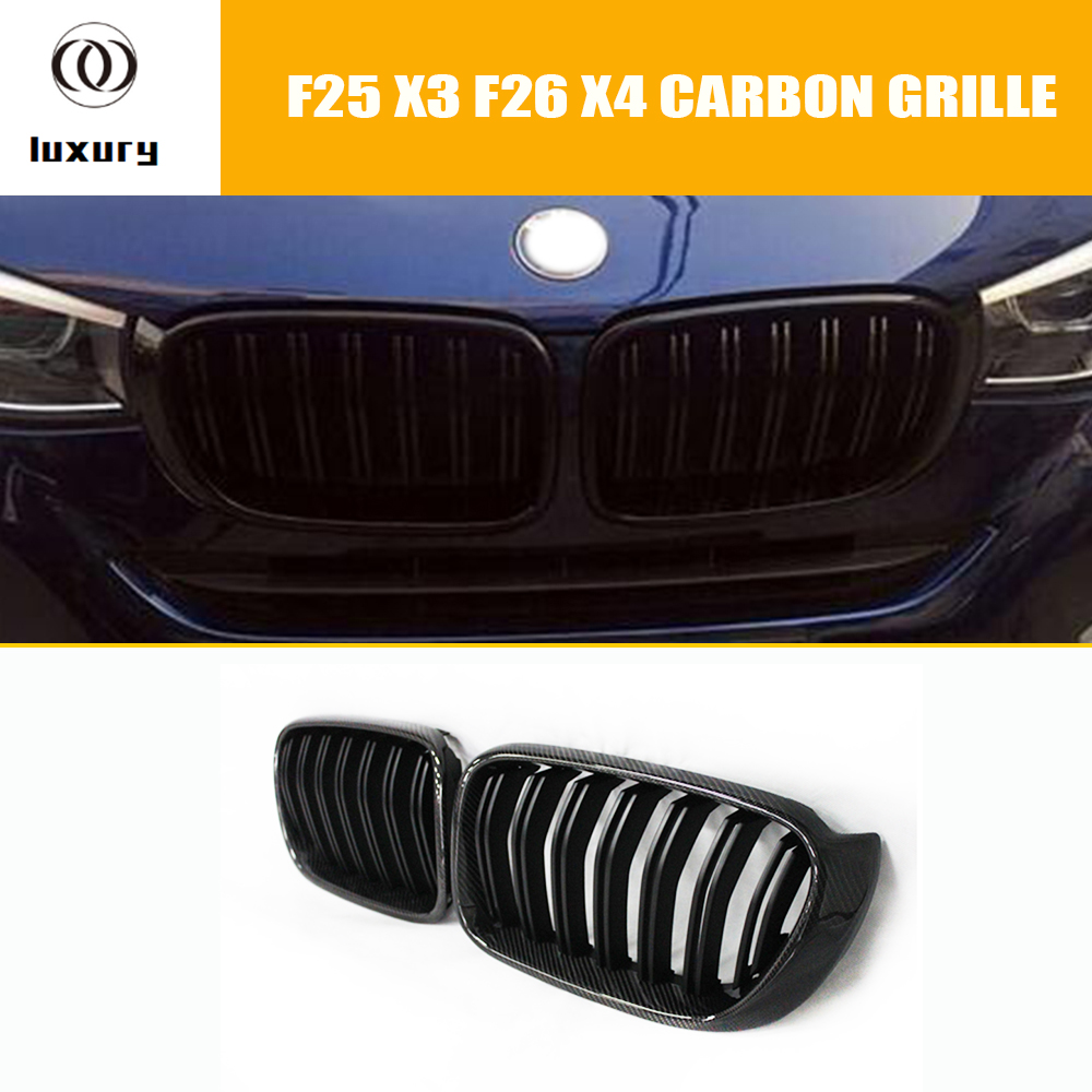 F25 F26 Carbon Fiber Front Bumper Grille Grill for BMW F25 X3 F26 X4 2014 2015 2016