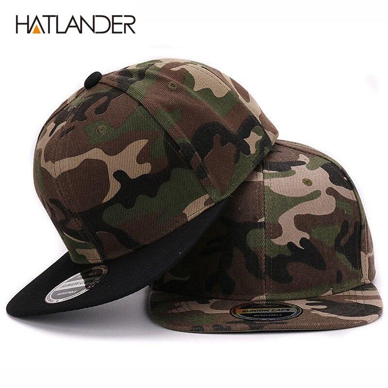 HATLANDER Camouflage snapback polyester cap blanc plat camo casquette de baseball sans broderie mens cap et chapeau pour les hommes et femmes