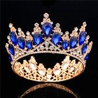 Baroque Gold Bride Crown Queen King Big Crown Tiara Prom Diadem Wedding hair jewelry Tiaras and Crowns Headdress Hair Ornaments
